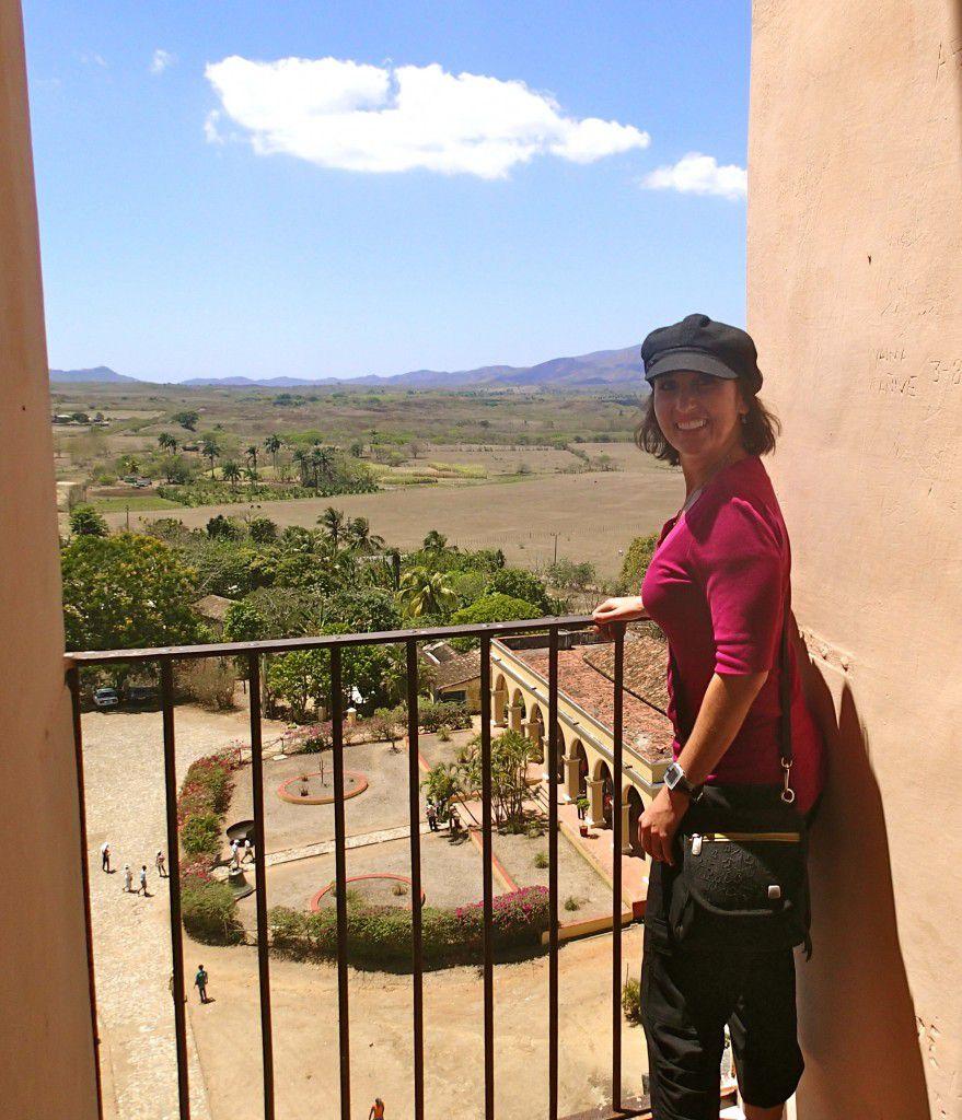 Ms Traveling Pants at top of bell tower at Manaca Iznaga Cuba