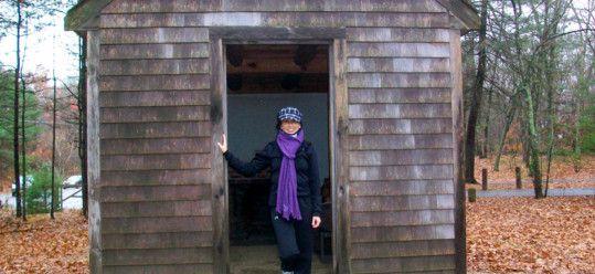 Ms Traveling Pants at Thoreau's cabin at Walden
