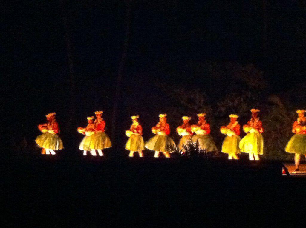 Moving and shaking hula dancing at Smith's Luau in Kauai