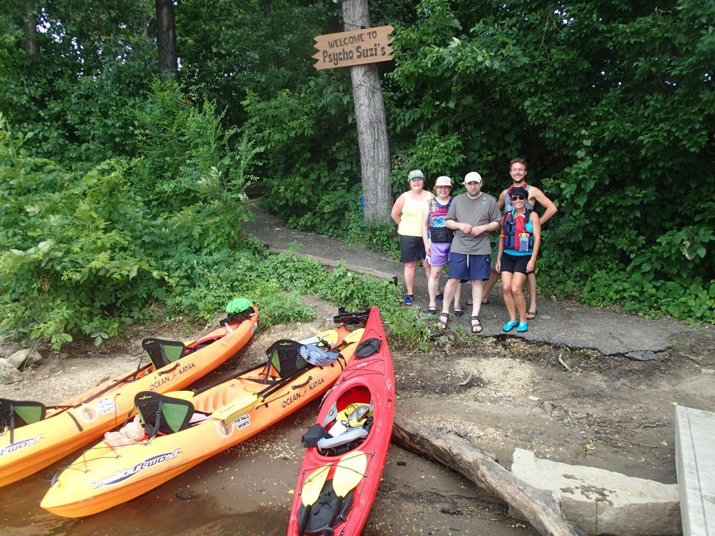 Lunch stop at Psycho Suzie's while Kayaking the Mississippi